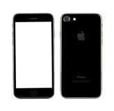 MOSKOU, RUSLAND - OKTOBER 22, 2016: Nieuwe zwarte iPhone 7 is slim Stock Afbeelding