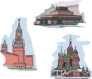 Moskou, Rusland, Rode Vierkante gezichten royalty-vrije illustratie