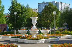 Moskou, Rusland - September 01 2016 Bloempot met goudsbloemen op Zelenograd-straat Royalty-vrije Stock Fotografie