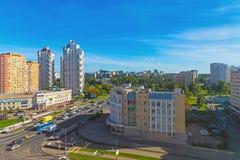 Moskou, Rusland - September 20 2017 de Weg van Panfilov van de meningsstraat in Zelenograd Royalty-vrije Stock Afbeelding