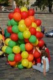 Moskou, Rusland - September 23 2017 Jonge meisjes met ballons op Vasilyevsky spusk Royalty-vrije Stock Fotografie