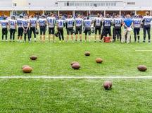 MOSKOU, RUSLAND - SEPTEMBER 06, 2015: Rugbystadion van Sportenschool van Olympische reserve? 111 Royalty-vrije Stock Foto's