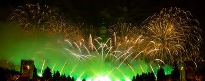 Moskou, Rusland - September 25, 2016: Vuurwerk bij het festival Stock Fotografie