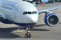 MOSKOU - SEPTEMBER 05: Vliegtuig in luchthaven Domodedovo Royalty-vrije Stock Fotografie