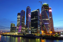 Moskou-stad in de nacht Stock Afbeelding