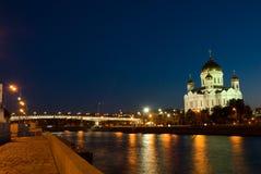 Moskou. Tempel van Christus de Verlosser Stock Afbeelding