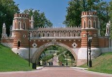 Moskou, Tsaritsyno, Voorgestelde Brug royalty-vrije stock afbeelding