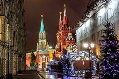 Moskou vóór het nieuwe jaar Stock Fotografie