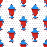 moskou vector naadloos patroon met Russische symbolen Moderne pop grafische illustratie met samovar Stock Foto
