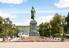 Moskou, vierkant Pushkinskaya Stock Afbeelding