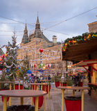 Moskou voor Nieuwjaar en Kerstmisvakantie Rood Vierkant dat wordt verfraaid Royalty-vrije Stock Afbeeldingen