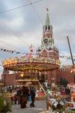 Moskou voor Nieuwjaar en Kerstmisvakantie Rood Vierkant dat wordt verfraaid Stock Afbeeldingen