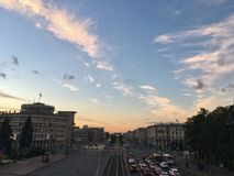 Moskovskiy prospekt in saint-petersburg, august. The view from the top of the Avenue roads, Moskovsky Prospekt, evening, beautiful sunset, blue sky fades into Royalty Free Stock Photos