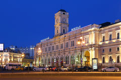 Moskovsky dworzec w wieczór w St Petersburg Zdjęcia Stock
