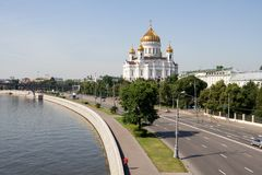 Moskow general view with the Cathedral. General view at the Moscow center with the Moskva river and the Cathedral of Christ the Saviour in Russia Royalty Free Stock Photos