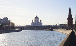 Moskow Moskva River embankment and Christ the Savior Cathedral, Moscow, Russia Royalty Free Stock Photo