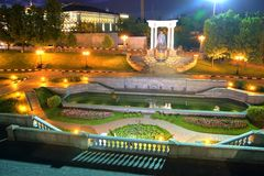 Moskow night. Moskow sity night river illuminated Royalty Free Stock Photos
