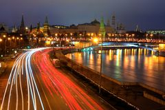 Moskow night. Moskow  sity night illuminated river Royalty Free Stock Photo