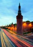 Moskow night. Moskow travel sity center night river illuminated Stock Photography