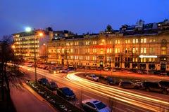 Moskow night. Moskow travel sity center night river illuminated Stock Image
