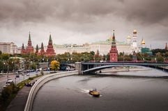 Moskow`s moskva river. And the Kremlin palace stock photo