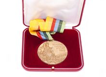 Moskow 1980 Summer Olympic Games Gold medal for boxing, in box, obverse. Kouvola Finland 26.03.2017. Words on medal - XXII Olympic. Games Moskow, boxing stock photos