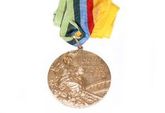 Moskow 1980 Summer Olympic Games Gold medal for boxing, obverse. Kouvola Finland 26.03.2017. Words on medal - XXII Olympic Games M. Oskow, boxing stock image