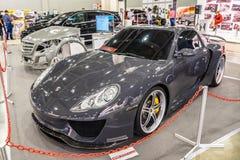 MOSKVA - AUGUSTI 2016: Porsche 911 991 SCL som framläggas på MIAS Moscow International Automobile Salon på Augusti 20, 2016 i Mos Fotografering för Bildbyråer