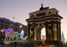 Moskva elektrisk skulptur av Santa Claus på carri Arkivbilder