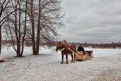 Moskva - 10 04 2017: En man i en vagn med den orange hästen, Mosc Fotografering för Bildbyråer