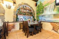 MOSKVA - JULI 2014: Inre i ett nautiskt tema av restaurangen royaltyfria foton