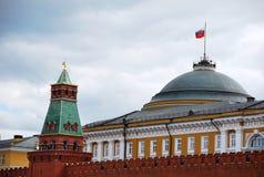 Moskva. Kreml. Kupolen av byggnaden av senaten och Kremlväggen Royaltyfria Bilder