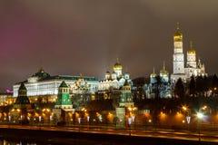 Moskva Kreml, Moskva på natten Arkivfoto