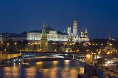 Moskva Kreml på natten Royaltyfri Foto