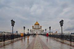Moskva - 04,04,2017: Kristus Förlossaredomkyrkan i centen Fotografering för Bildbyråer