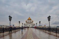 Moskva - 04,04,2017: Kristus Förlossaredomkyrkan i centen Arkivfoton