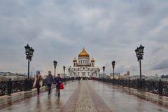 Moskva - 04,04,2017: Kristus Förlossaredomkyrkan i centen Royaltyfria Foton