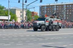 MOSKVA MAJ, 9, 2018: Ferie för den stora segern ståtar av den ryska militärfordonet URAL 432009-0020-73 för militärpolistrans. ce Royaltyfri Foto