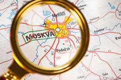Moskva on a map. Closer-up stock photography