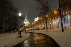 Moskva på natten Arkivbilder