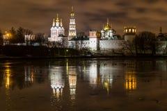 Moskva på natten Arkivbild