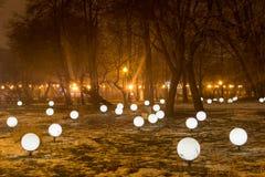 Moskva parkerar på natten Arkivfoto