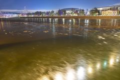 Moskva River and big sports arena of the Olympic Complex Luzhniki on a winter evening, Moscow, Russia stock image