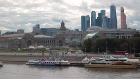 Moskva River with boats, Kievsky Railway Station stock video