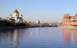Moskva River and the Christ the Savior Cathedral, Moscow, Russia Stock Image