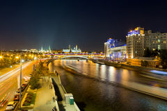 Moskva River in downtown Moscow at night. Russia Stock Images