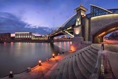 Moskva River Embankment and Bogdan Khmelnitsky Bridge, Moscow, R Royalty Free Stock Images