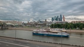 Moskva River Embankment with the Kievsky Railway stock video footage