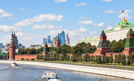 Moskva River, embankment, Kremlin, Moscow City Stock Image