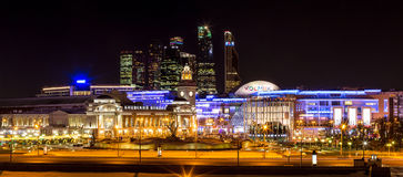 Moskva River embankment: Moscow-City, railway station, shopping Royalty Free Stock Photography